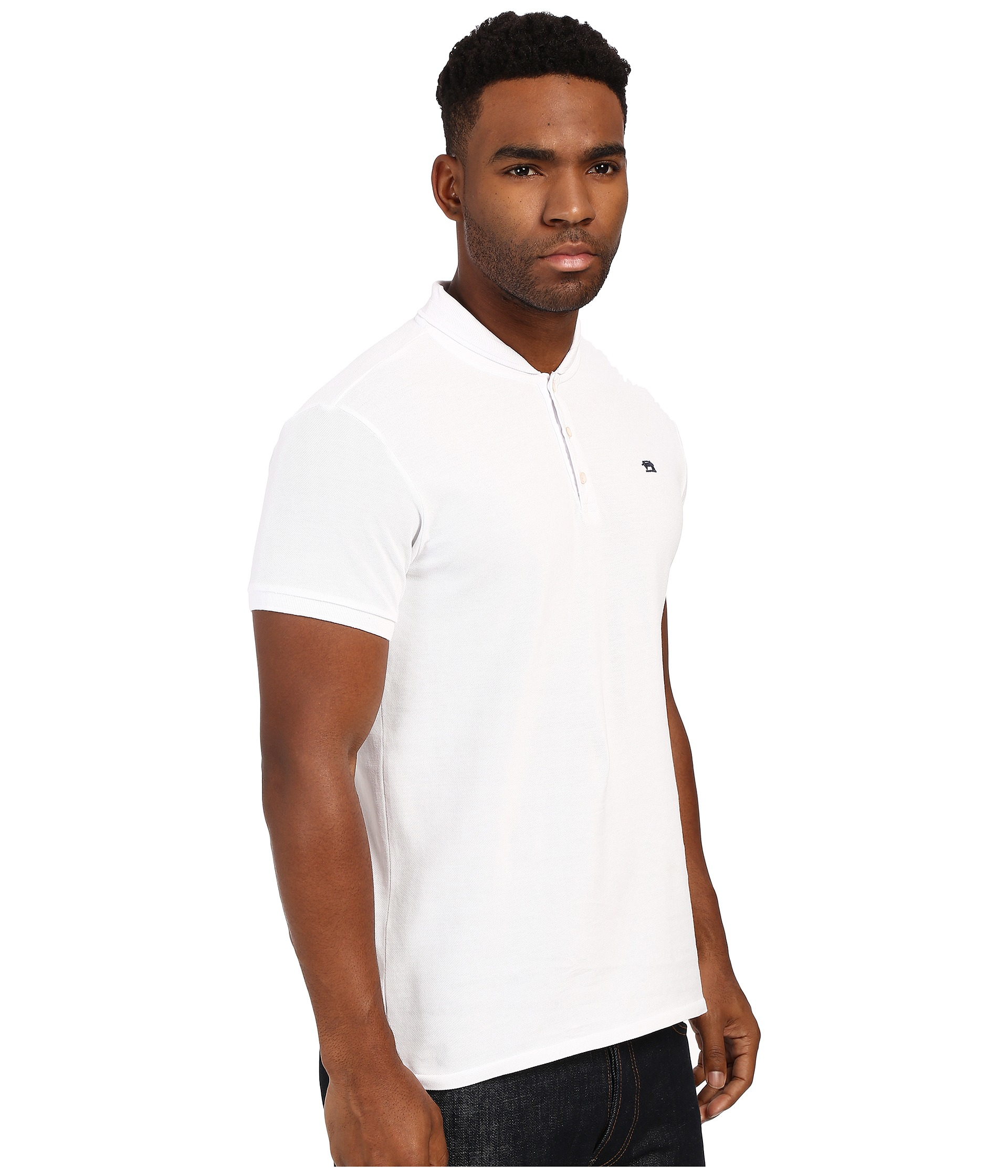 7a08bc87 Scotch & Soda Garment Dyed Sun Fade Polo With Bomber Collar in White ...