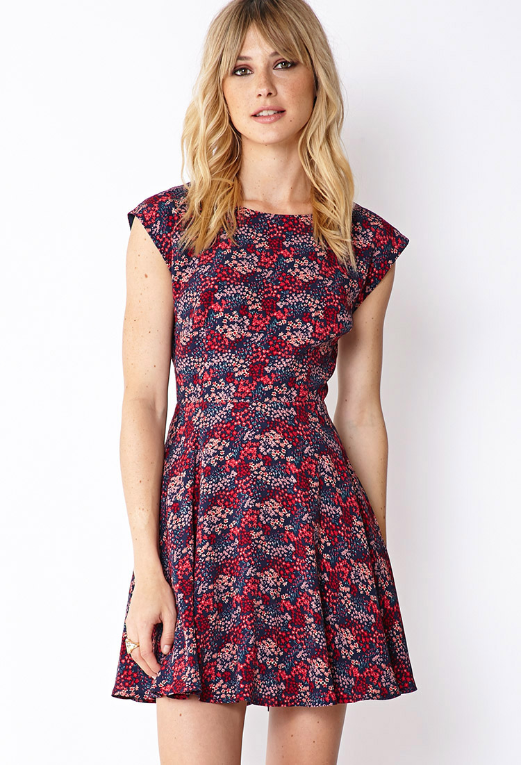 Forever 21 Contemporary Floral Tulip Back Dress In Purple