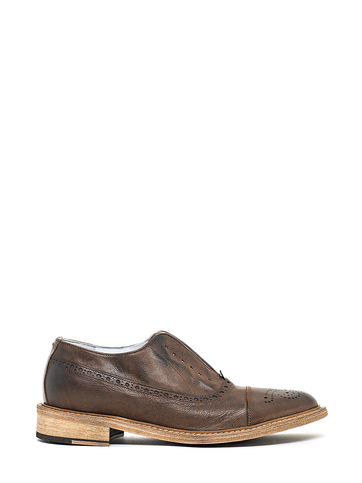 patrizia pepe vintage leather look derby laceless shoes in
