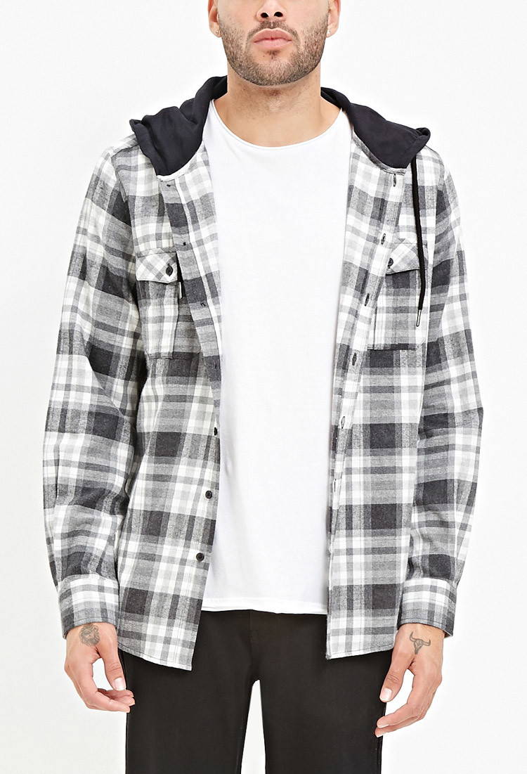 Forever 21 Hooded Plaid Flannel Shirt in Black for Men | Lyst