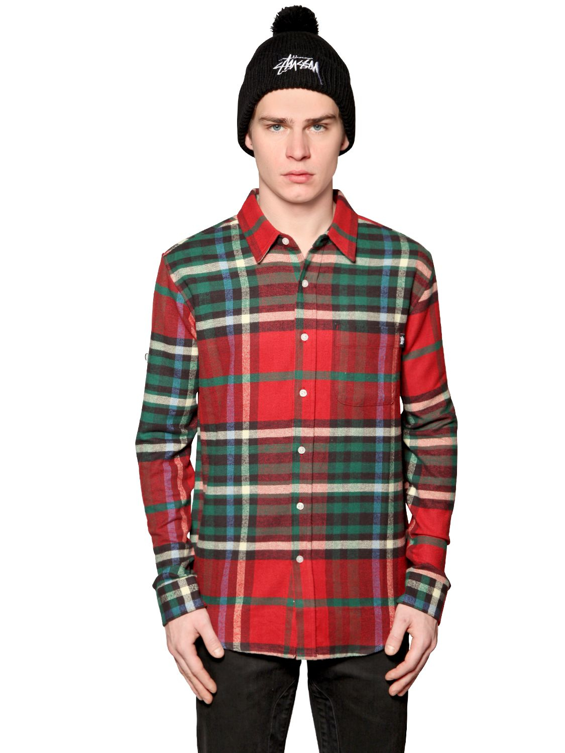 Stussy Plaid Printed Heavy Cotton Shirt In Green For Men
