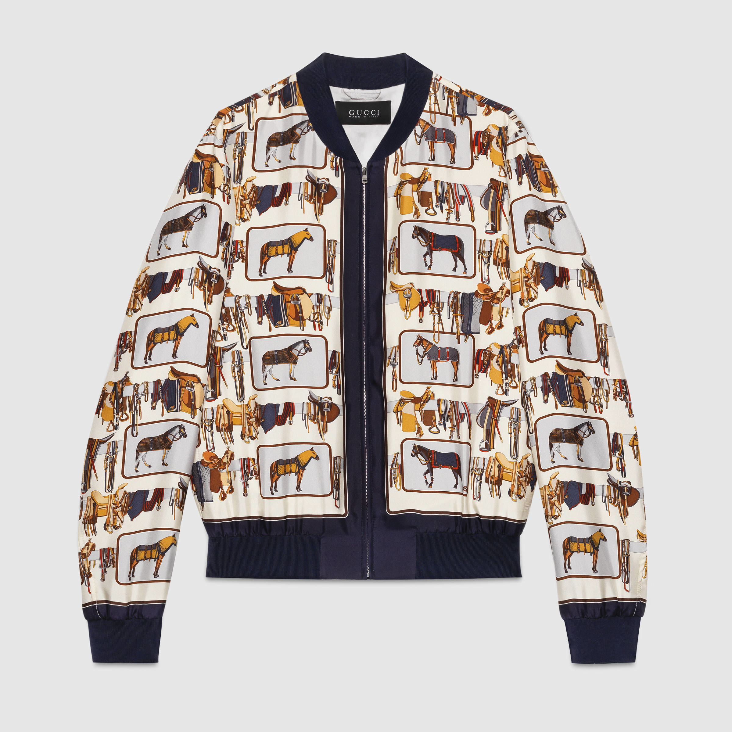 6fa23e328d04 Lyst - Gucci Horse Frame Print Silk Twill Jacket in White for Men