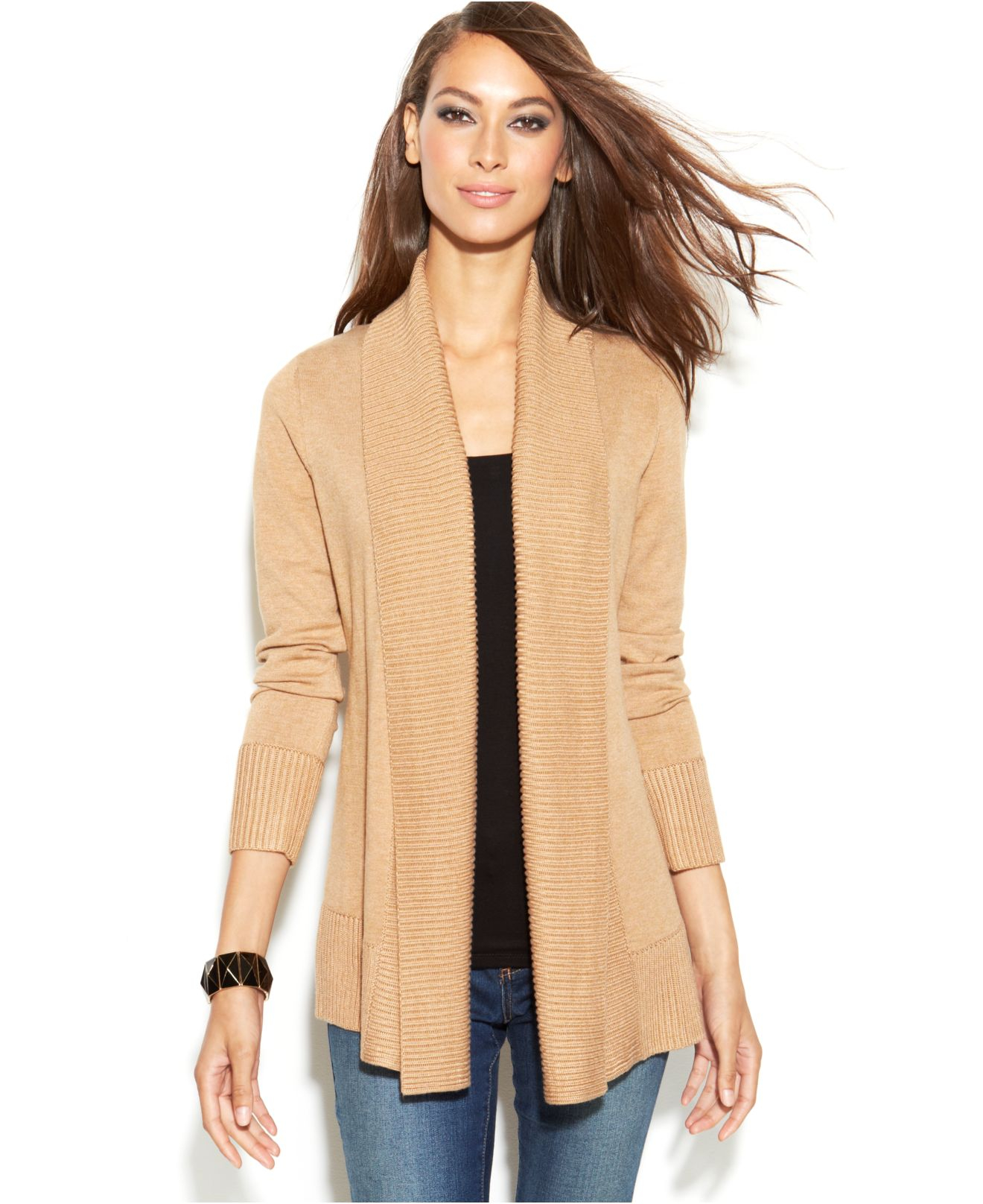 Knitting Pattern Open Front Cardigan : Inc international concepts Ribbed-Knit Open-Front Cardigan in Natural Lyst