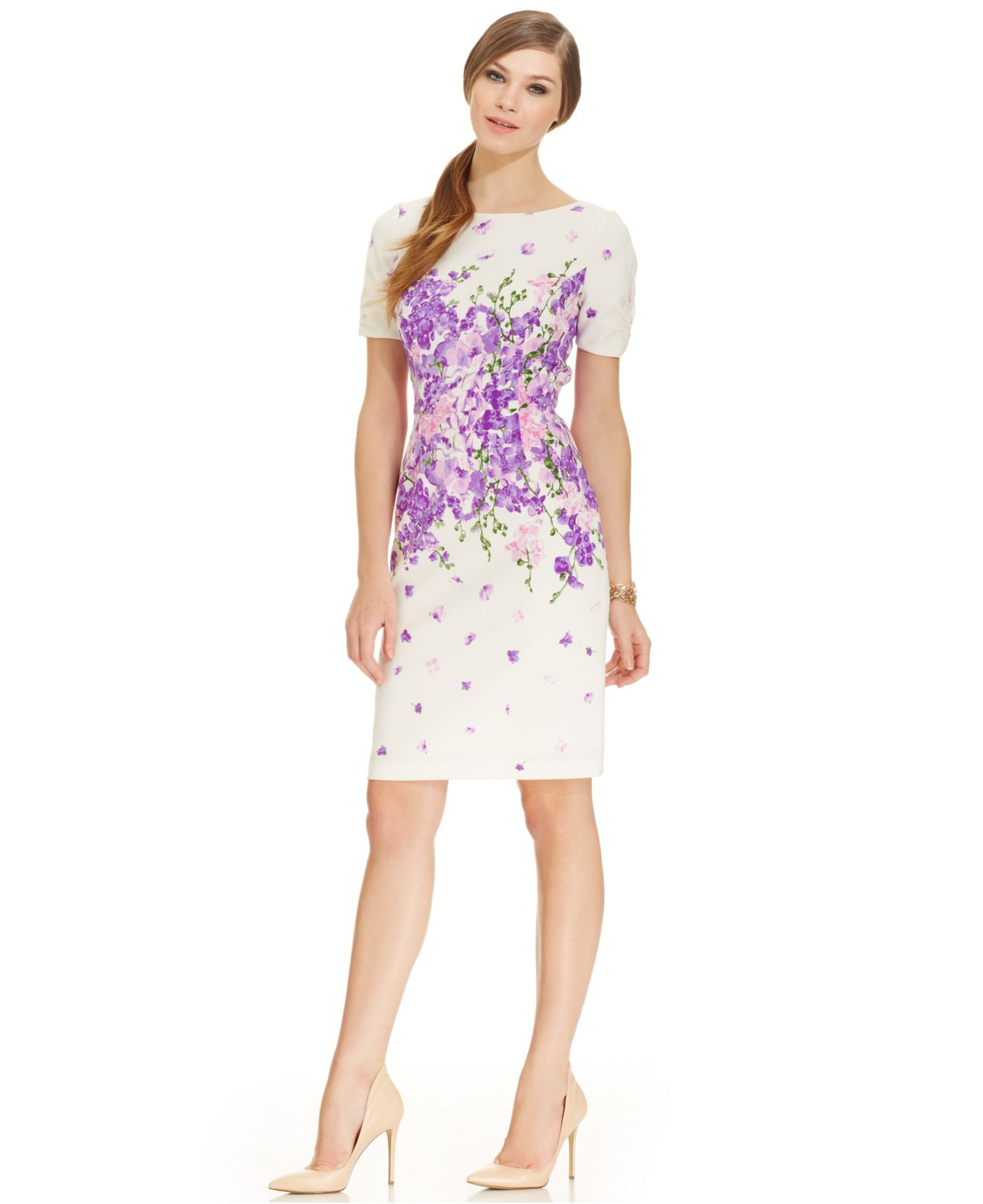 Adrianna papell Ruched-Sleeve Floral-Print Sheath in Purple | Lyst