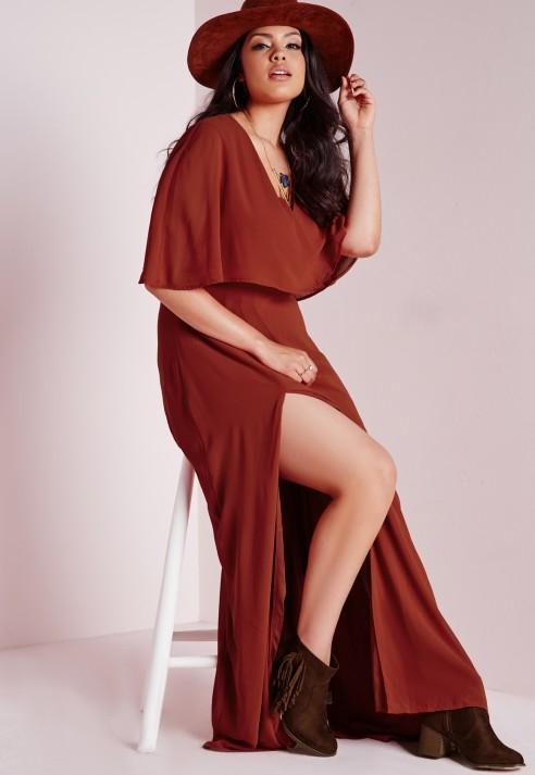 Lyst Missguided Plus Size Side Split Maxi Dress Rust In Brown
