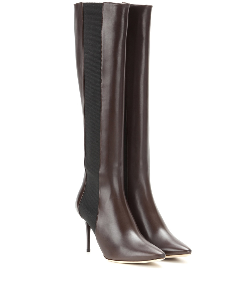 jimmy choo faith leather knee boots in brown lyst