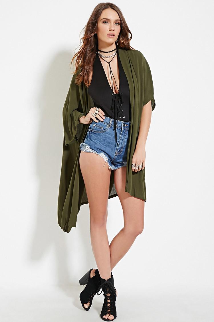 Forever 21 Longline Kimono in Green   Lyst