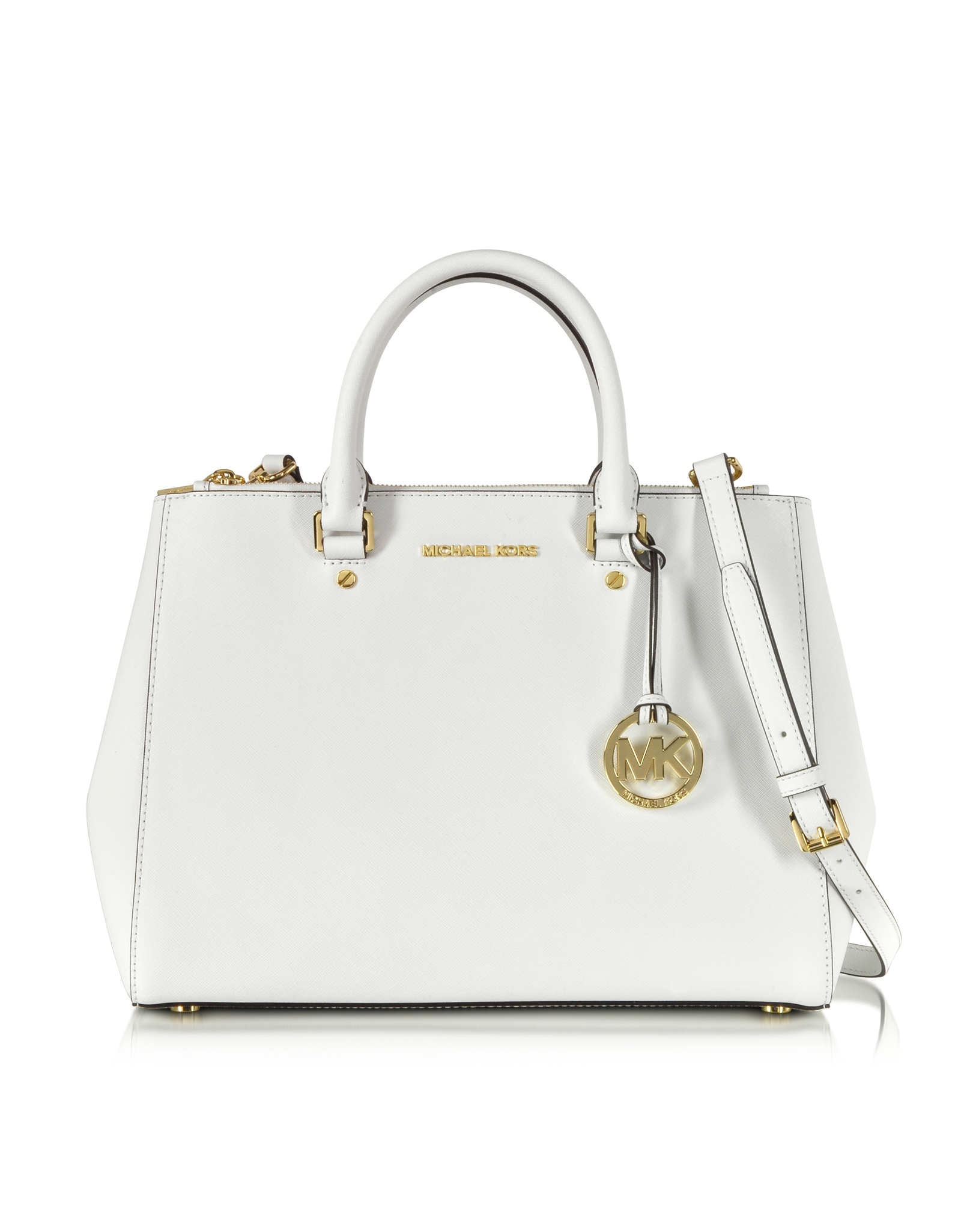 07644aeae62c Lyst - Michael Kors Sutton Saffiano Leather Large Satchel in White