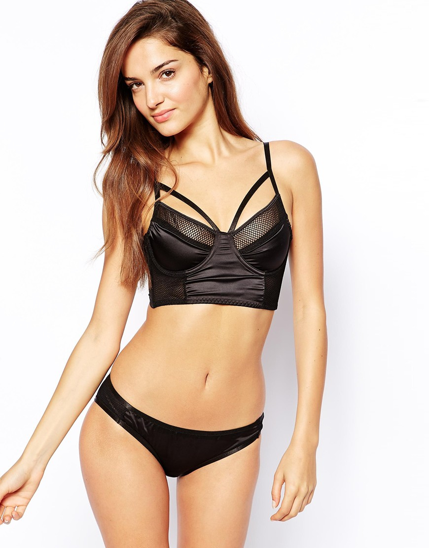 Asos Satin and Fishnet Longline Bra in Black | Lyst