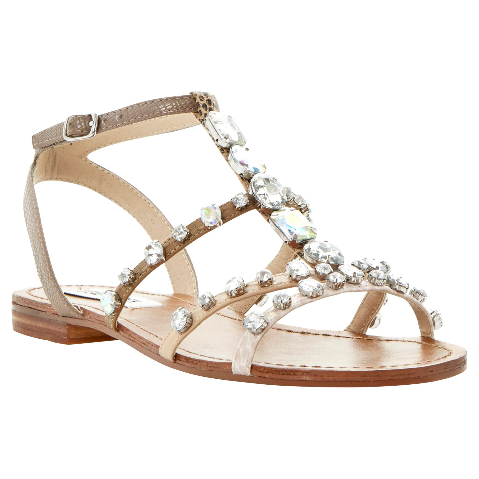 57aae931d1eb Steve Madden B Jewelled Diamante Flat Sandals in Metallic - Lyst