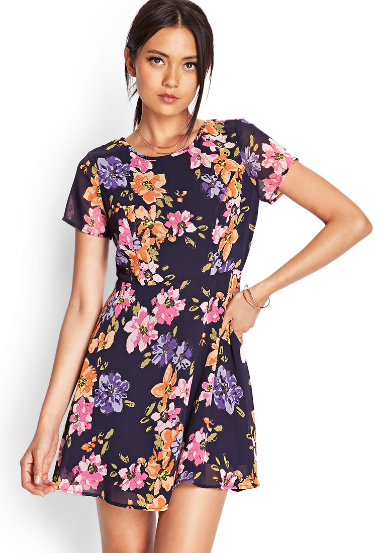 Forever 21 Painted Floral Skater Dress in Blue | Lyst