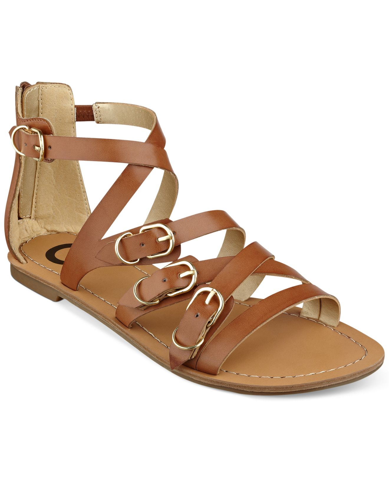 9daef1c11e69e Lyst - G by Guess Women S Harris Strappy Flat Sandals in Brown