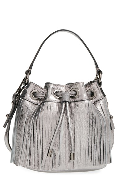 Lyst Milly Small Fringed Metallic Leather Bucket Bag
