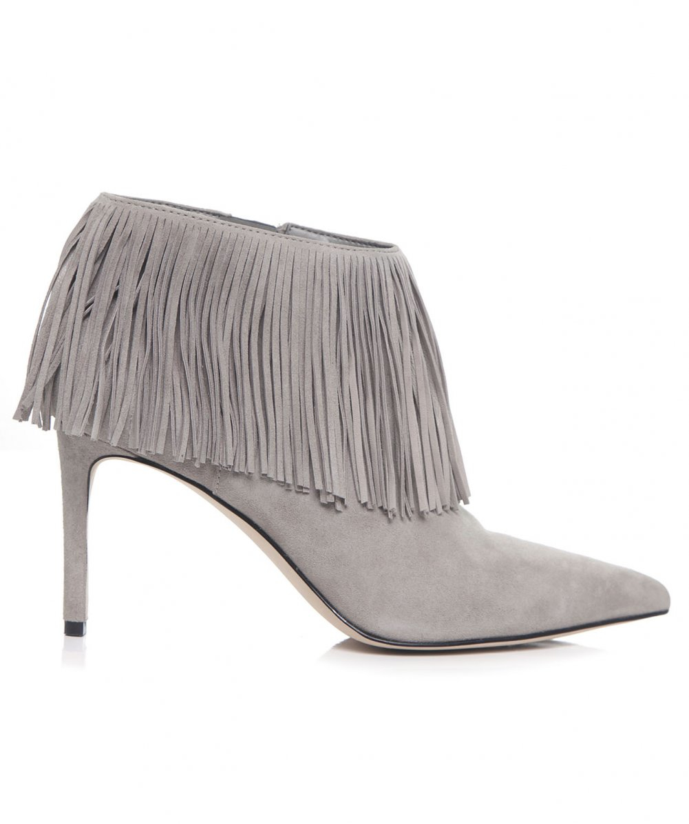 ff486475be0f Lyst - Sam Edelman Kandice Suede Fringe Boots in Gray