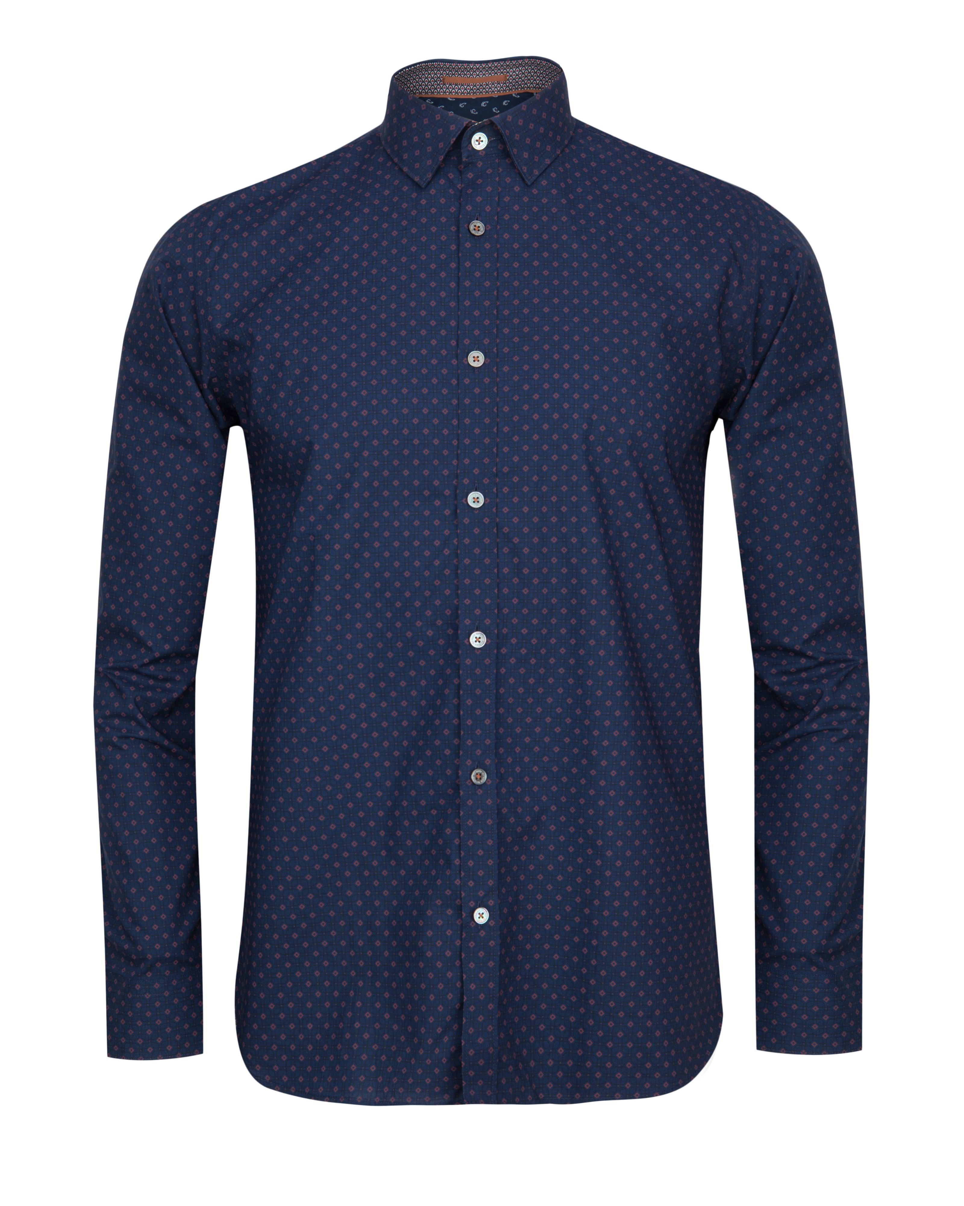 Ted baker coolkid printed shirt in blue for men lyst for Ted baker blue shirt
