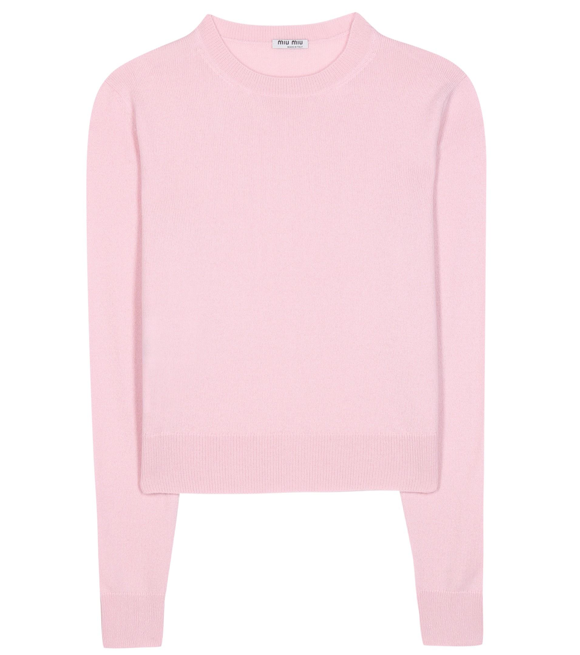 Miu miu Cashmere Sweater in Pink | Lyst