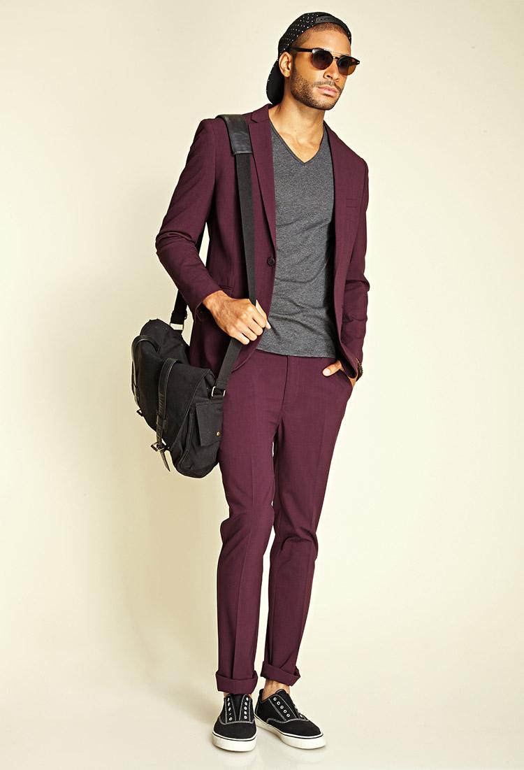 Forever 21 Crisp Woven Suit Jacket in Red for Men | Lyst