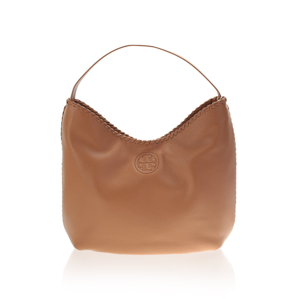 Tory burch Tan Leather Marion Hobo Bag in Brown | Lyst
