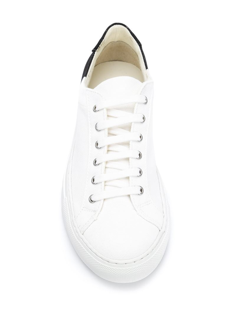 lyst common projects two toned canvas low top sneakers in white. Black Bedroom Furniture Sets. Home Design Ideas