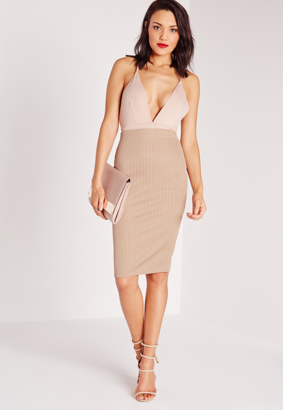 Missguided Bandage Rib Midi Skirt Nude in Natural | Lyst