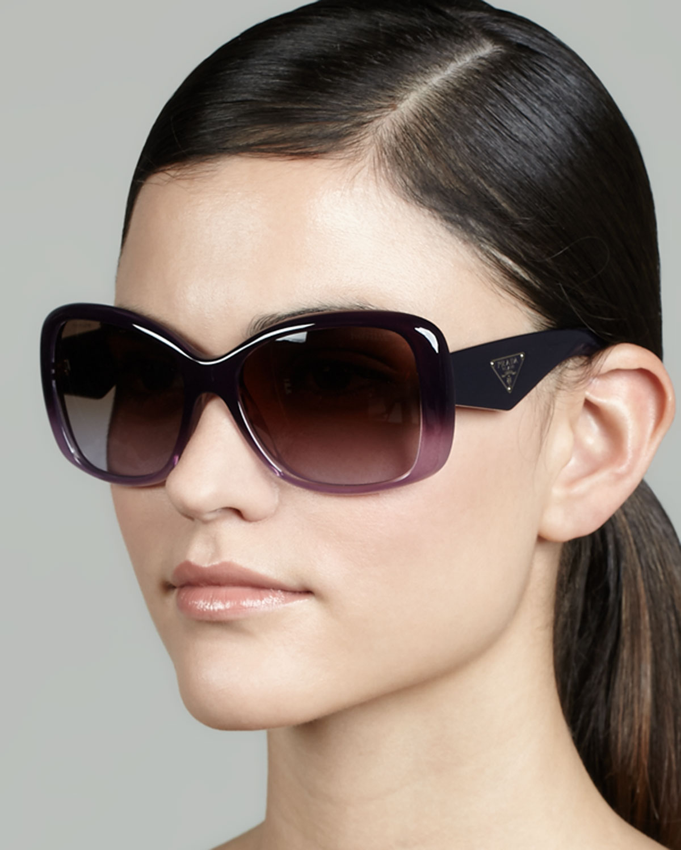 d58b06b8de1 Lyst - Prada Heritage Logo Square Sunglasses in Purple