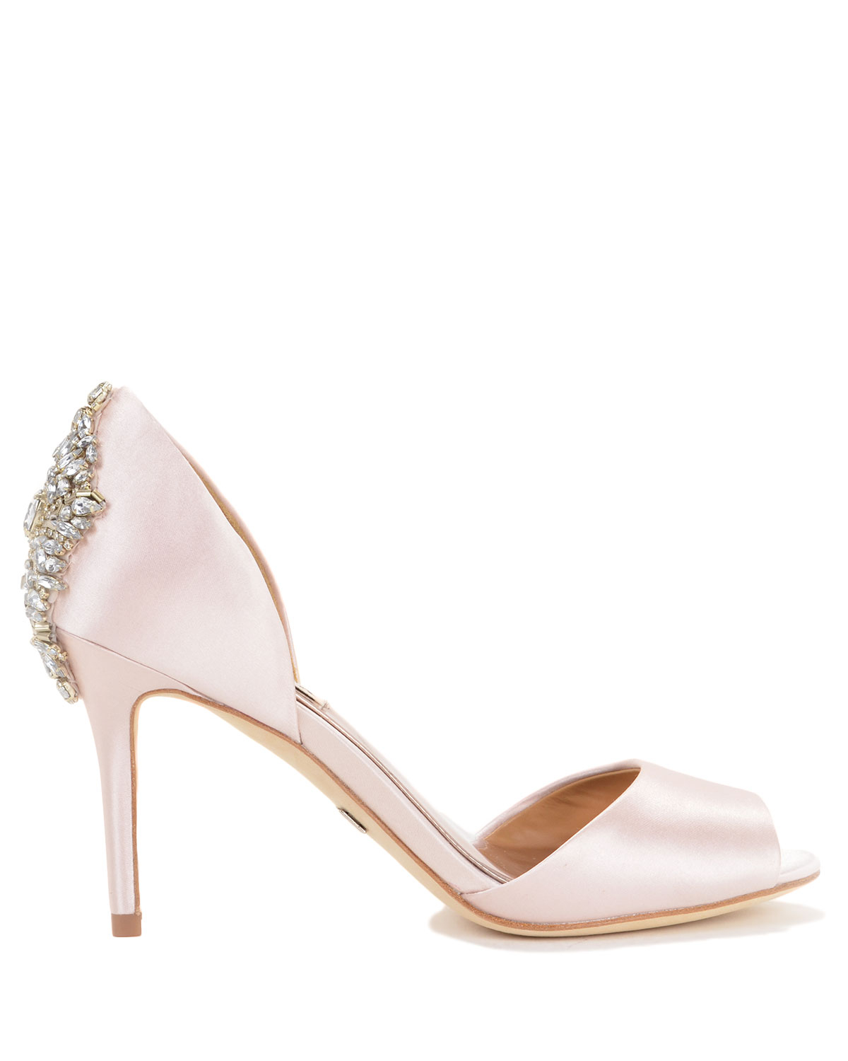 badgley mischka maxine decorated heel evening shoe in pink