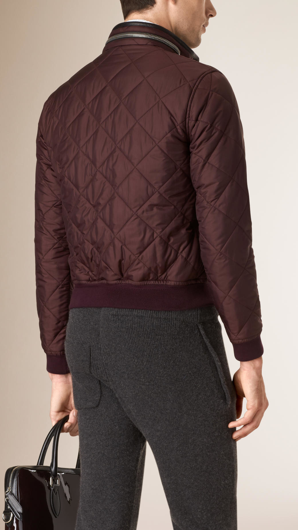 Burberry Quilted Bomber Jacket In Purple For Men Lyst