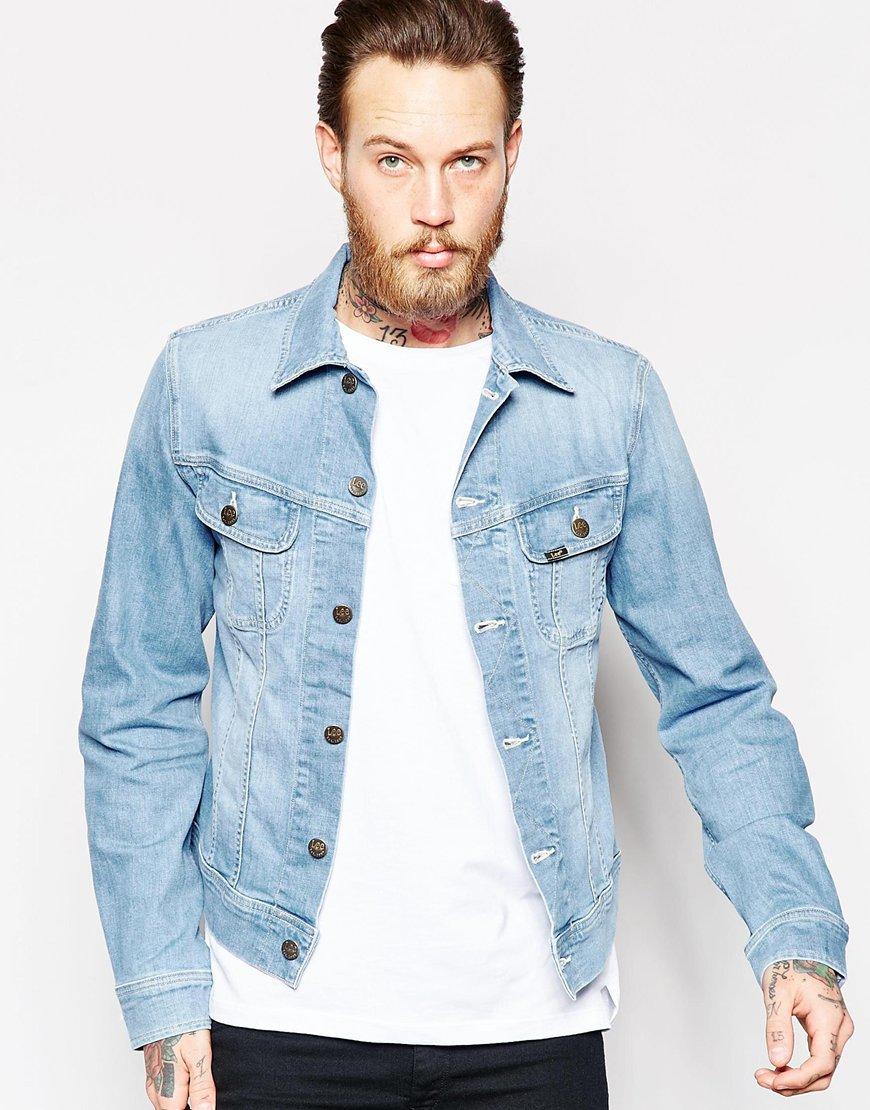 Lyst - Lee Jeans Denim Jacket Slim Fit Rider Light Wash ...