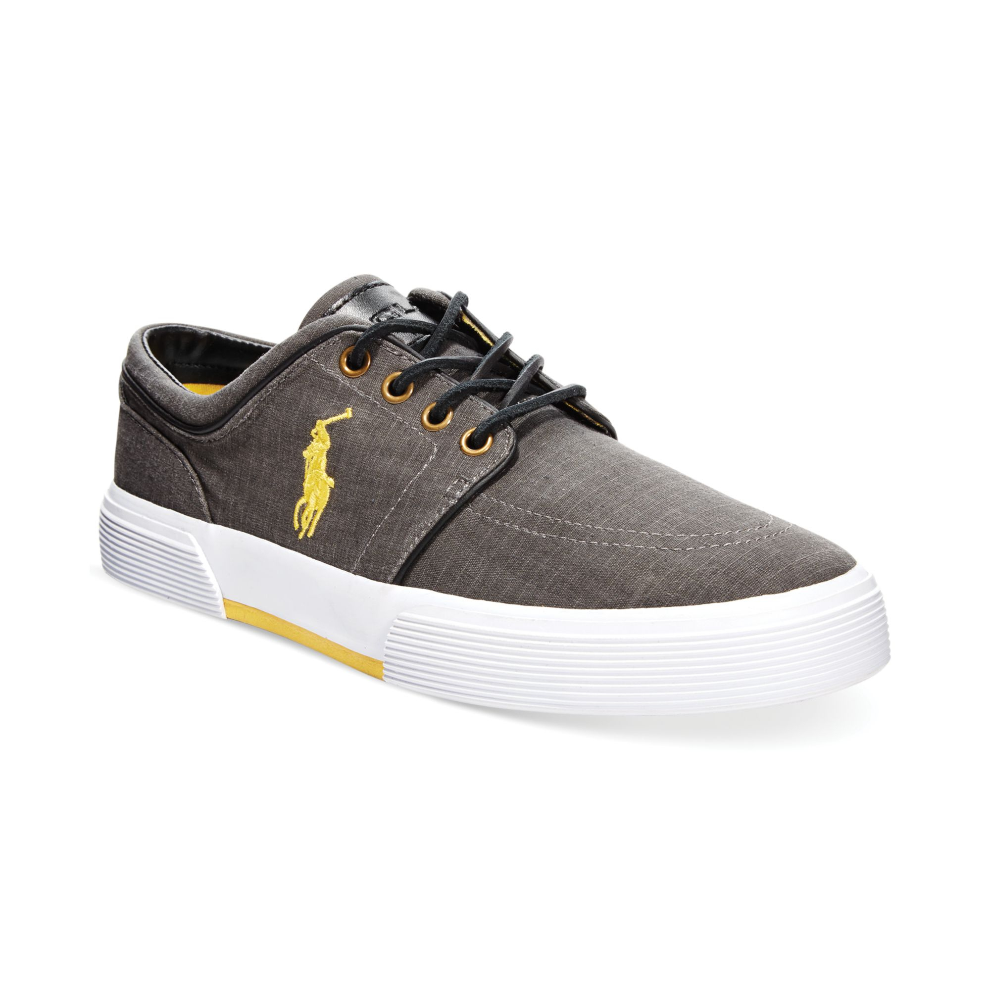polo ralph faxon ripstop canvas sneakers in black