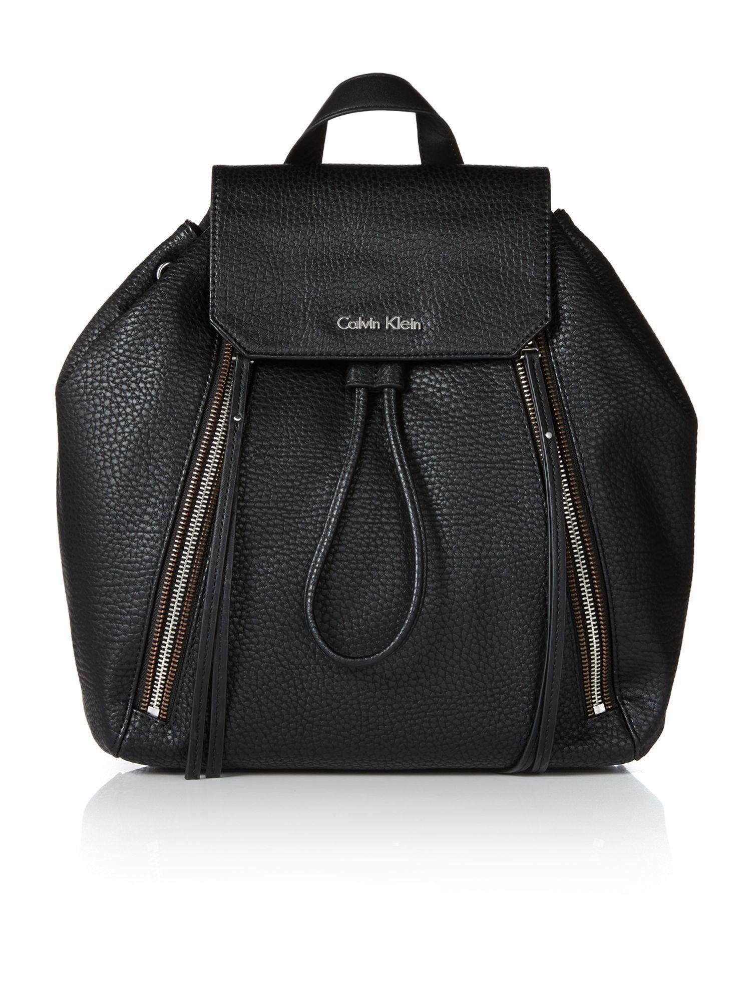 calvin klein nora black shoulder backpack in black lyst. Black Bedroom Furniture Sets. Home Design Ideas
