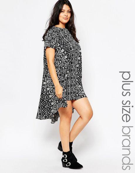 Black And White Dip Hem Dress Plus Aztec Dip Hem Dress
