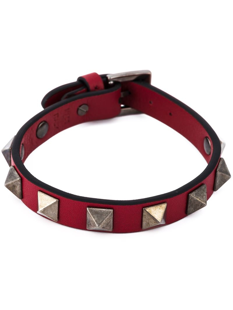Lyst Valentino Rockstud Bracelet In Red For Men