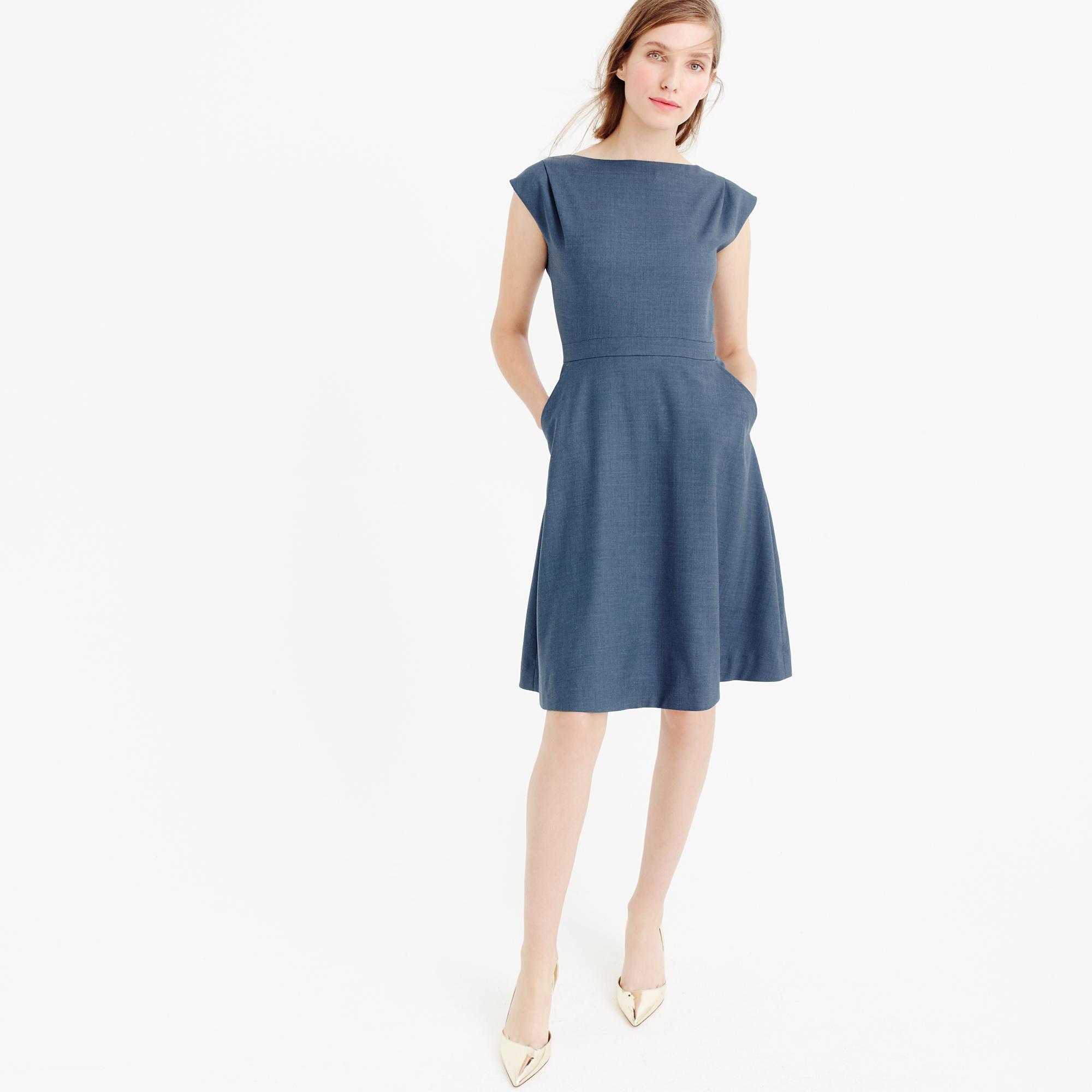 J.Crew Cap-sleeve Dress In Super 120s Wool In Blue