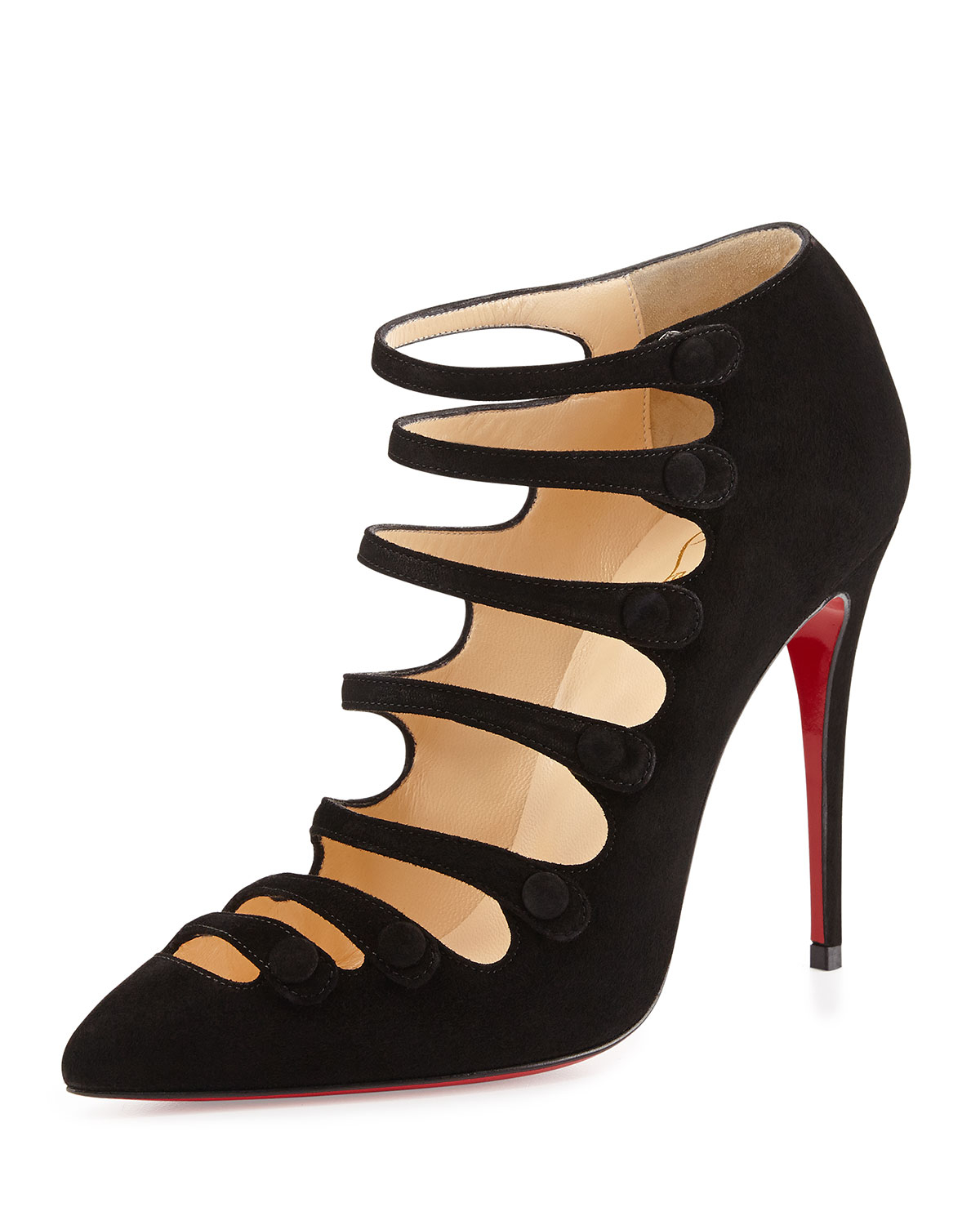 Christian louboutin Viennana Suede Red Sole Bootie in Black   Lyst