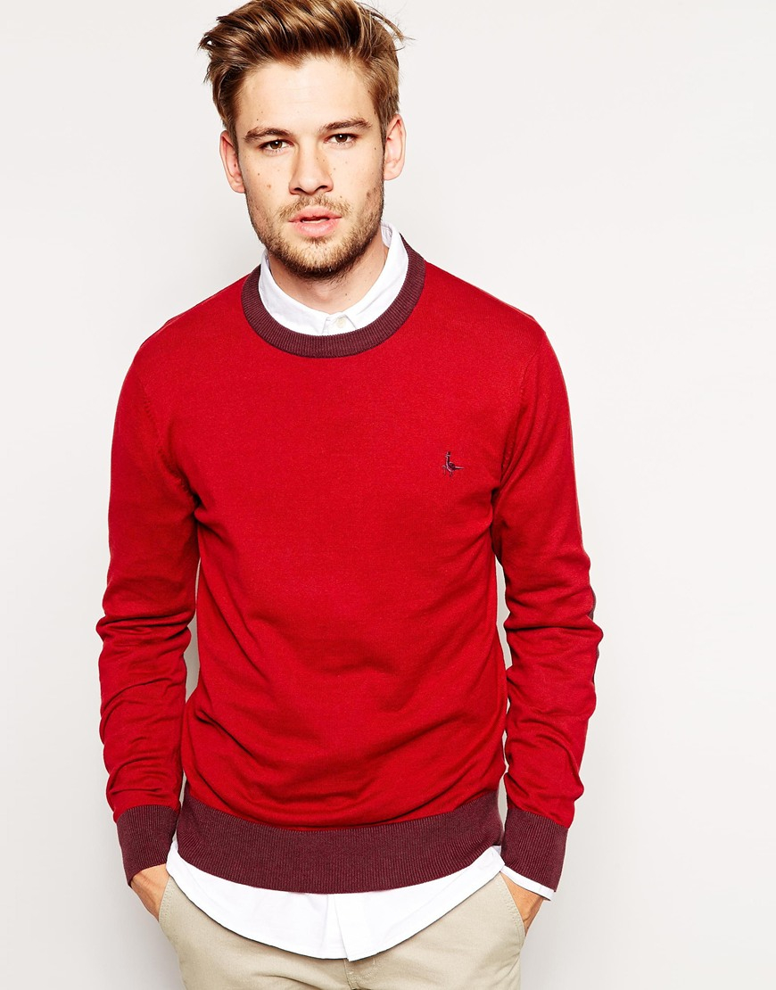 Jack wills Sweater with Contrast Trim in Red for Men | Lyst