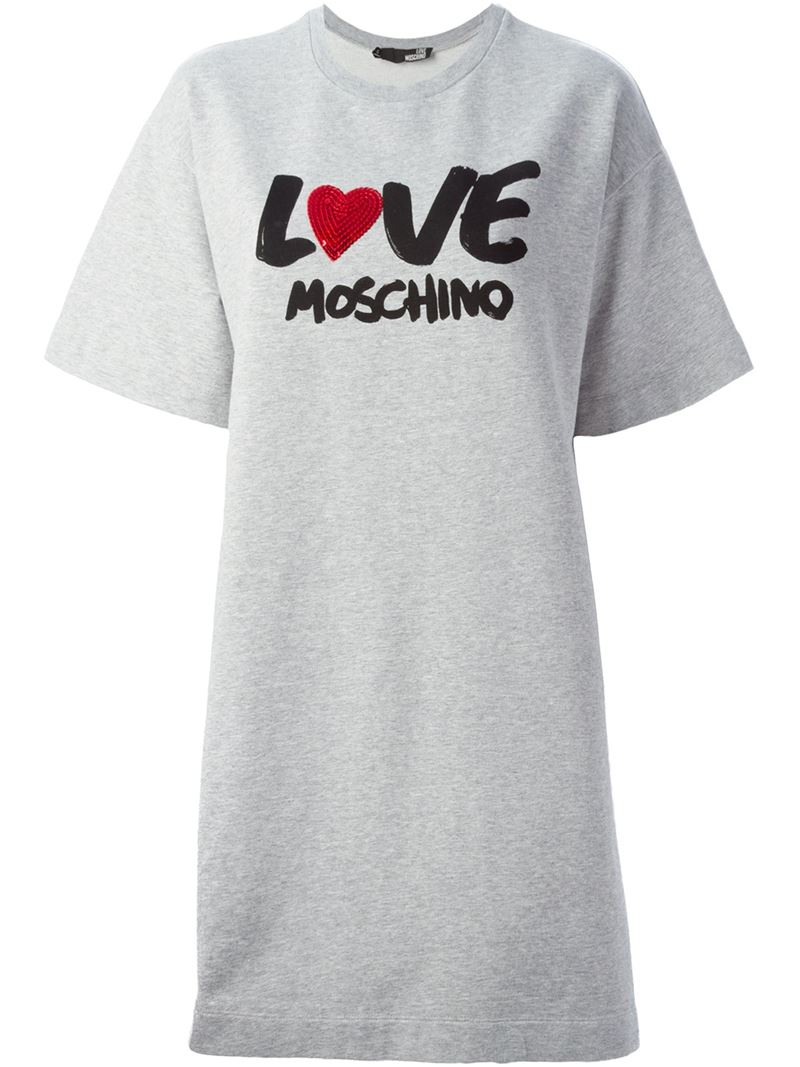 lyst love moschino t shirt dress in gray. Black Bedroom Furniture Sets. Home Design Ideas