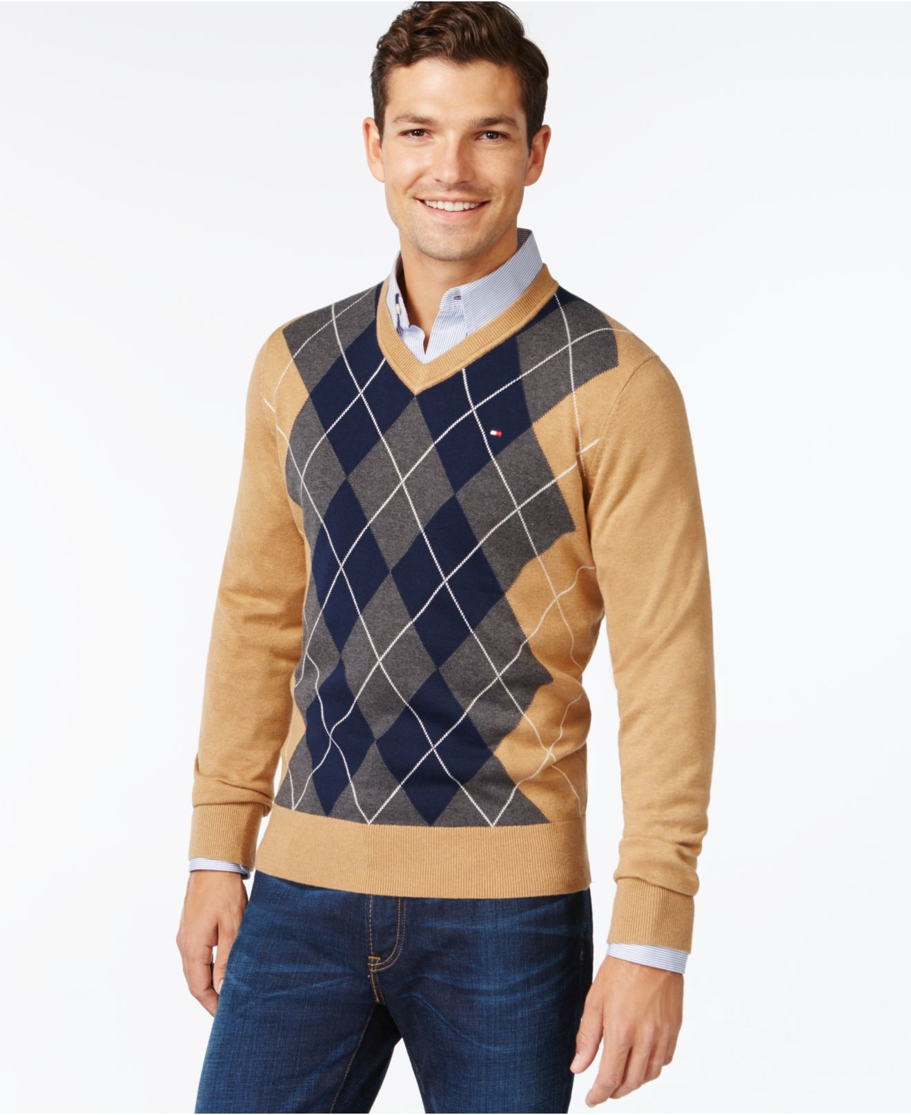 tommy hilfiger signature argyle v neck sweater in natural. Black Bedroom Furniture Sets. Home Design Ideas