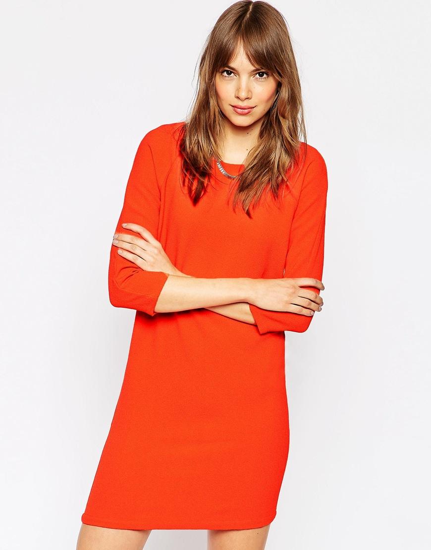 251286cb5f68 Vila 3/4 Sleeve Shift Dress in Red - Lyst