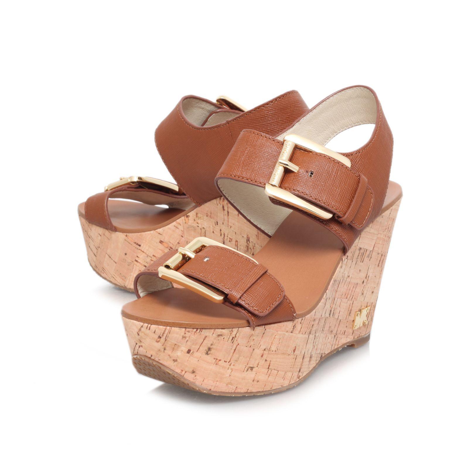 michael kors warren high heel wedge sandals in brown lyst. Black Bedroom Furniture Sets. Home Design Ideas