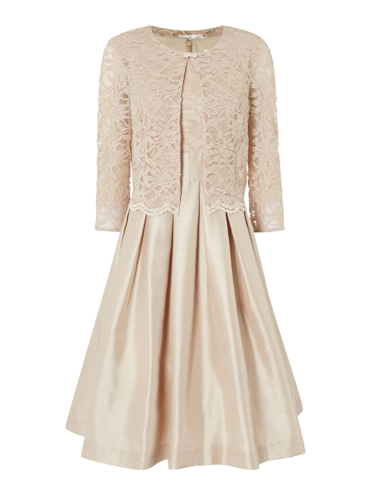 Eliza J Two Piece With Fit And Flare Skirt In Metallic Lyst