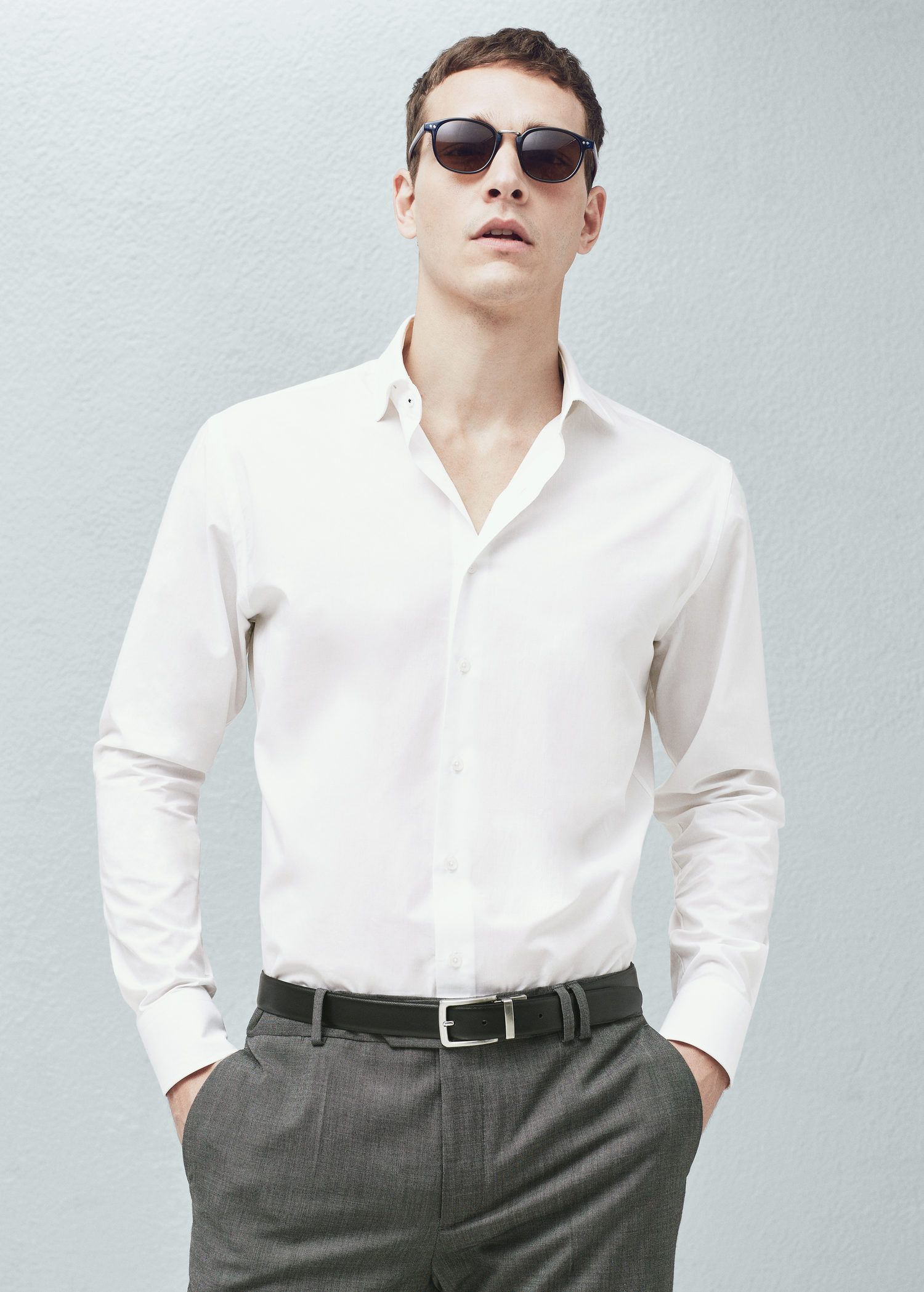 Mango slim fit tailored cotton shirt in white for men lyst for Tailored shirts for men
