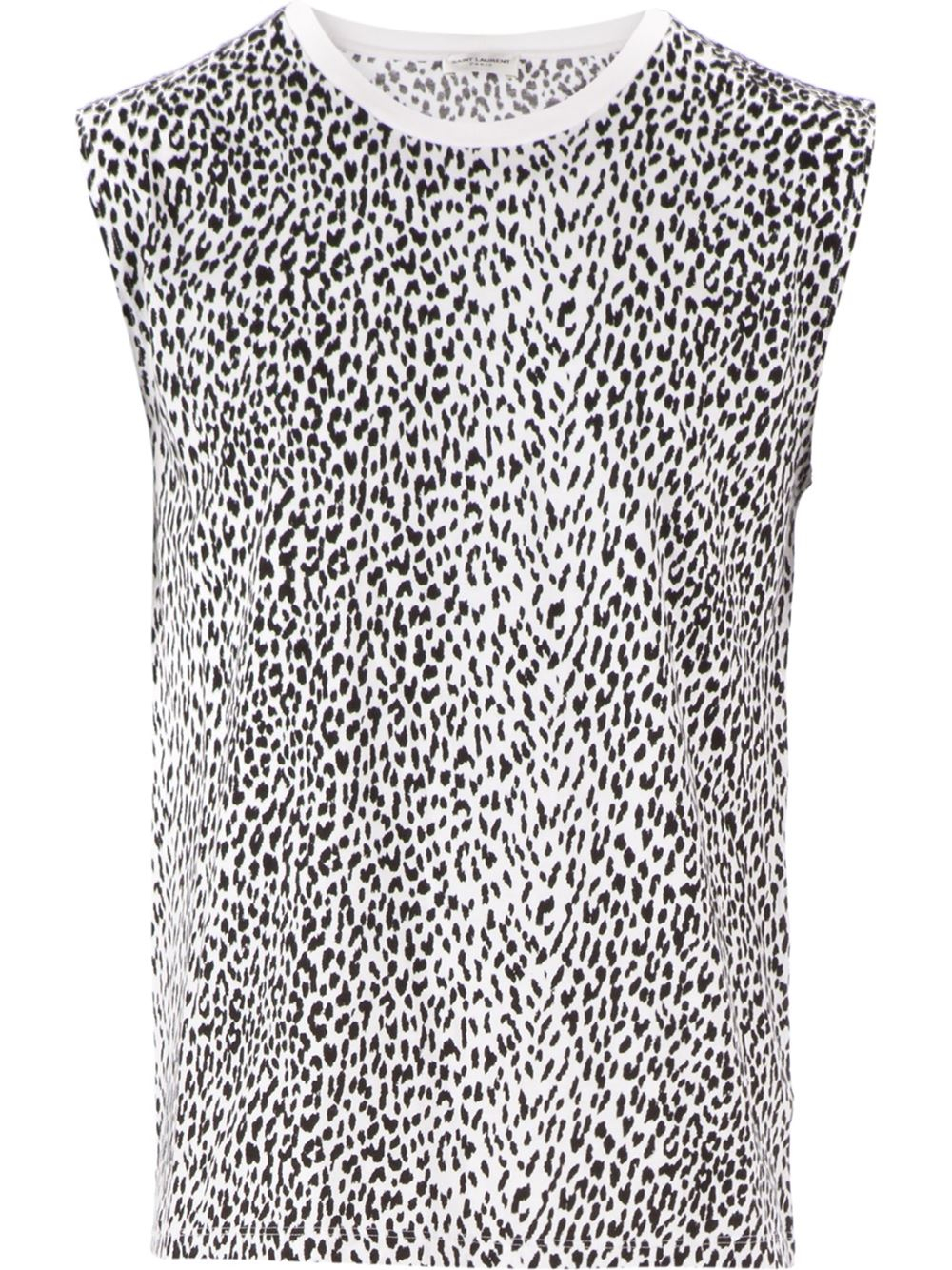 d7c486d66536ca Lyst - Saint Laurent Leopard Print Tank Top in Black for Men