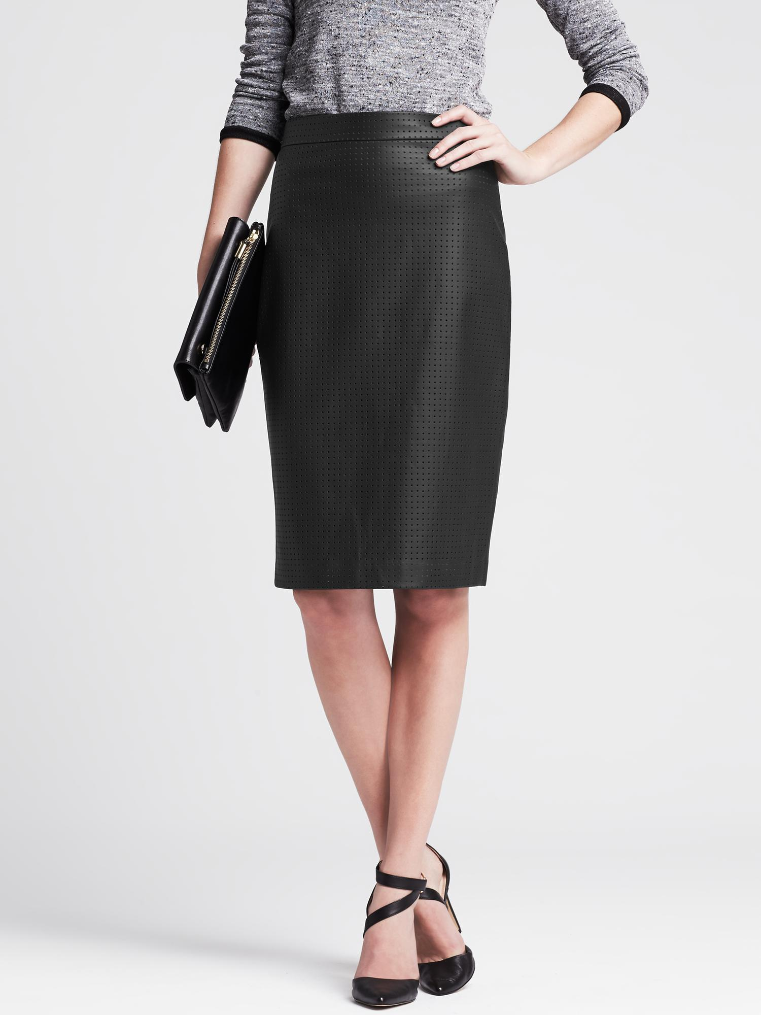 a7900d86ca Banana Republic Perforated Black Faux-Leather Skirt in Black - Lyst