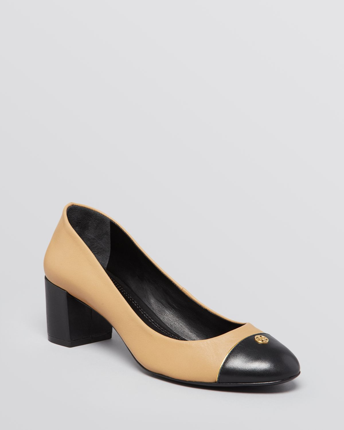 85b1b4f790a Lyst - Tory Burch Cap Toe Pumps Ethyl Block Heel in Black