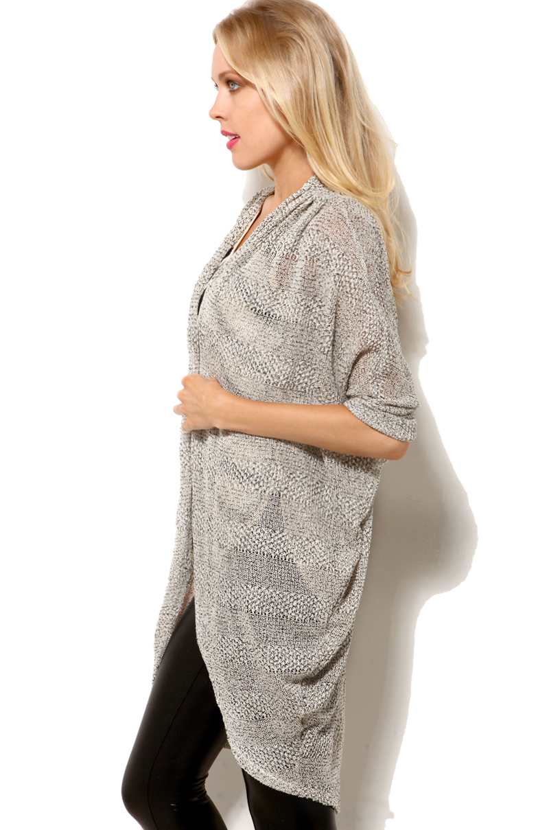 Akira black label Short Sleeve Cocoon Cardigan in Gray | Lyst
