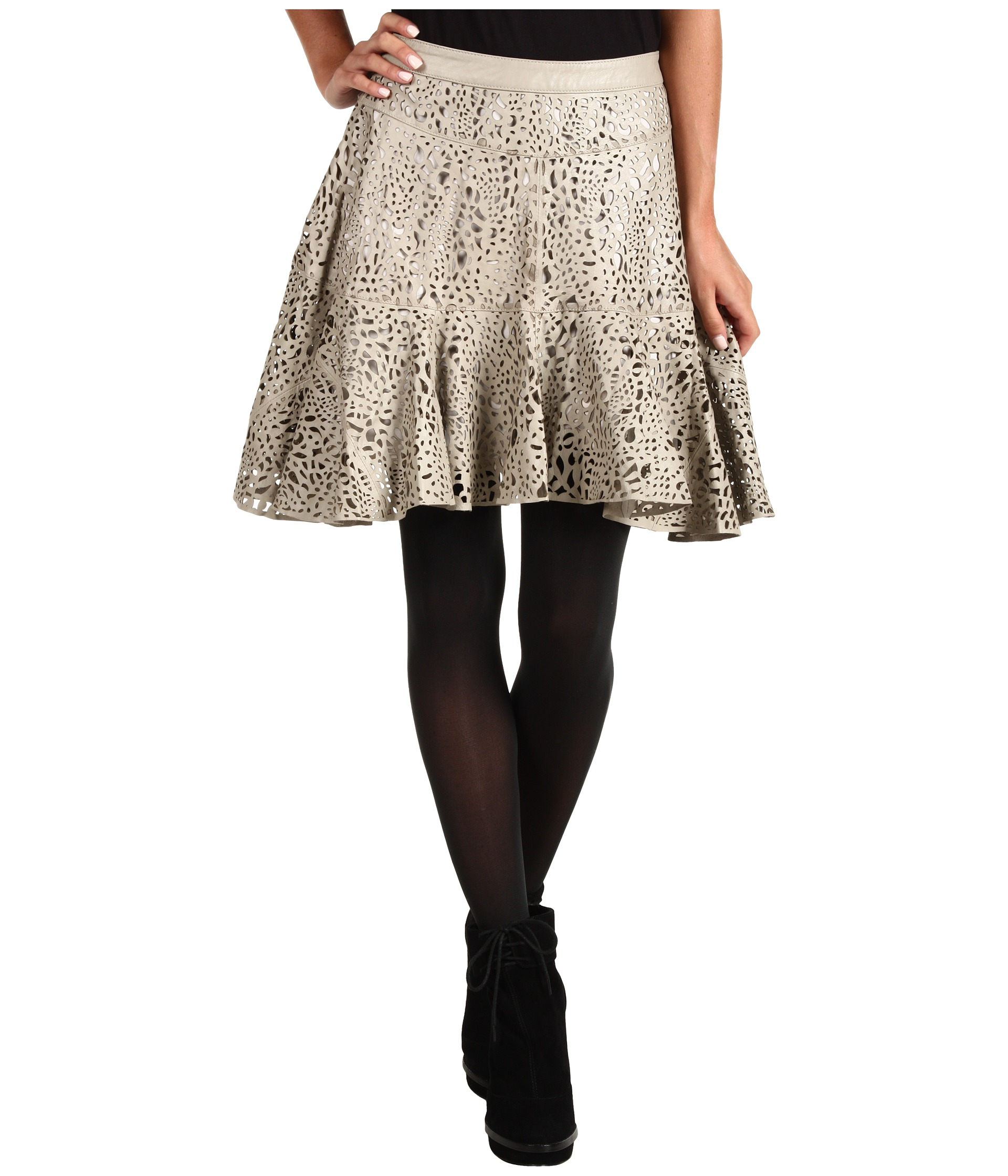 winter kate laser cut leather skirt in lyst