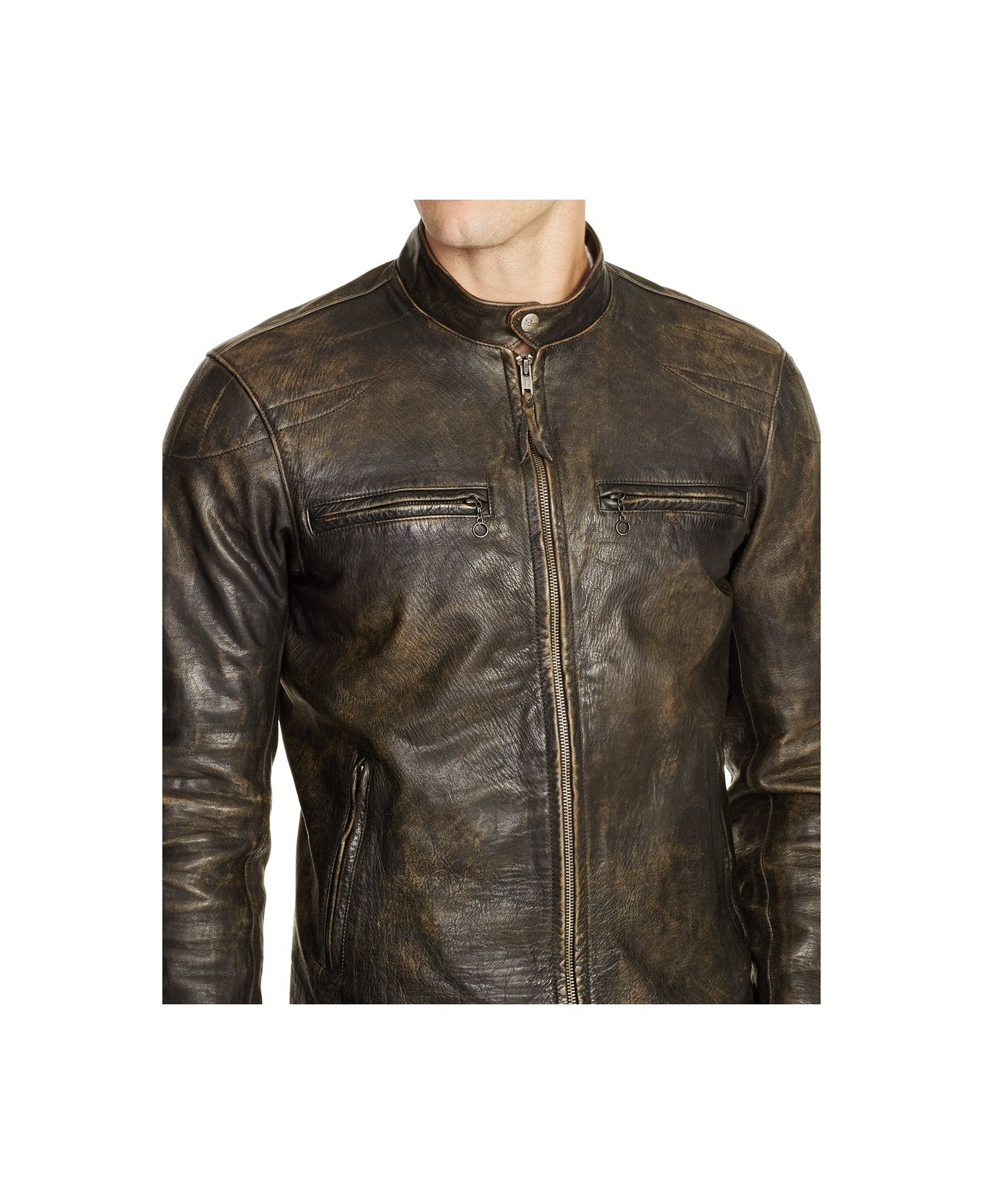 polo ralph lauren distressed leather jacket in brown for men | lyst