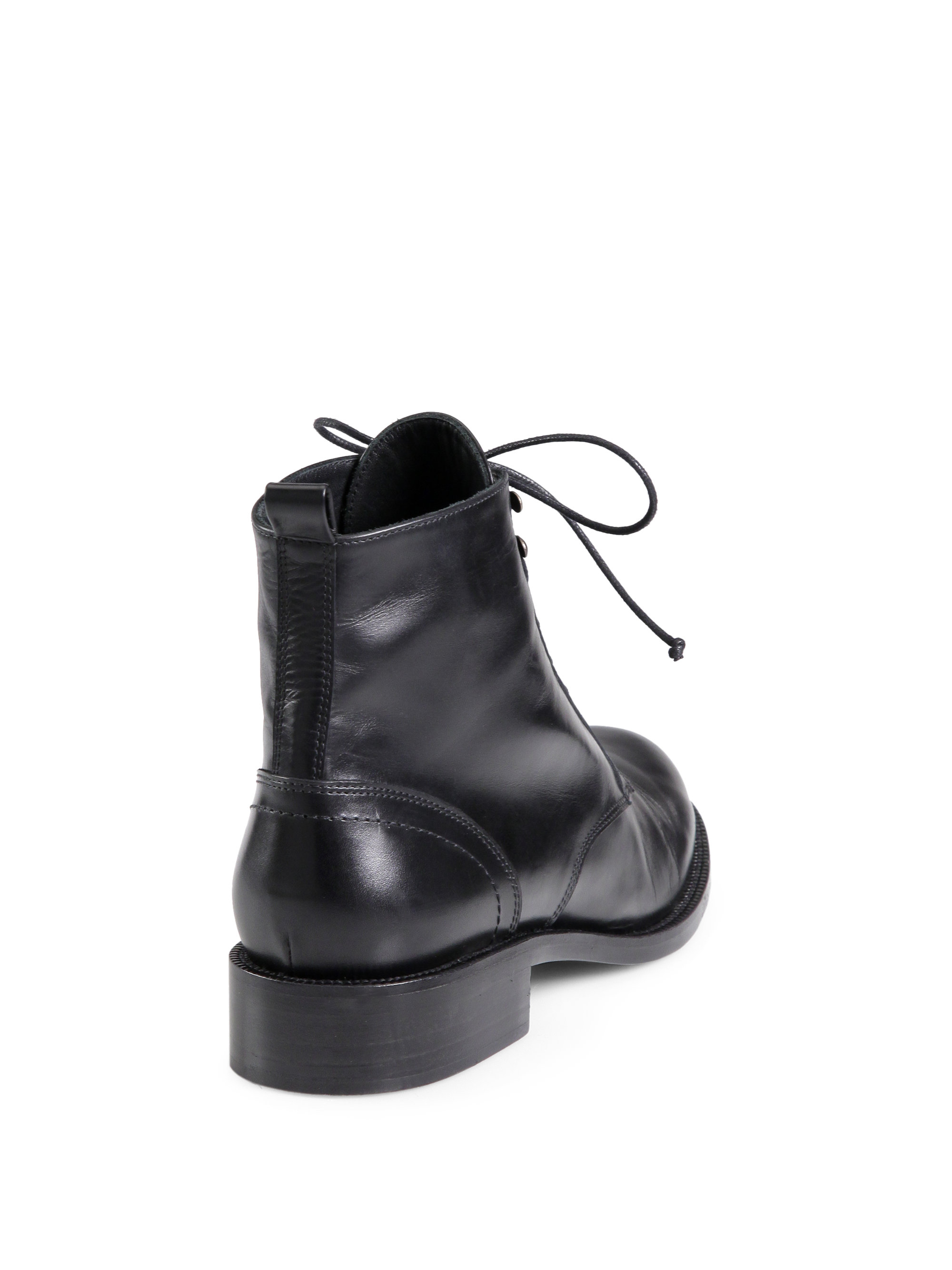 Saint laurent Patti Leather Lace-Up Ankle Boots in Black | Lyst