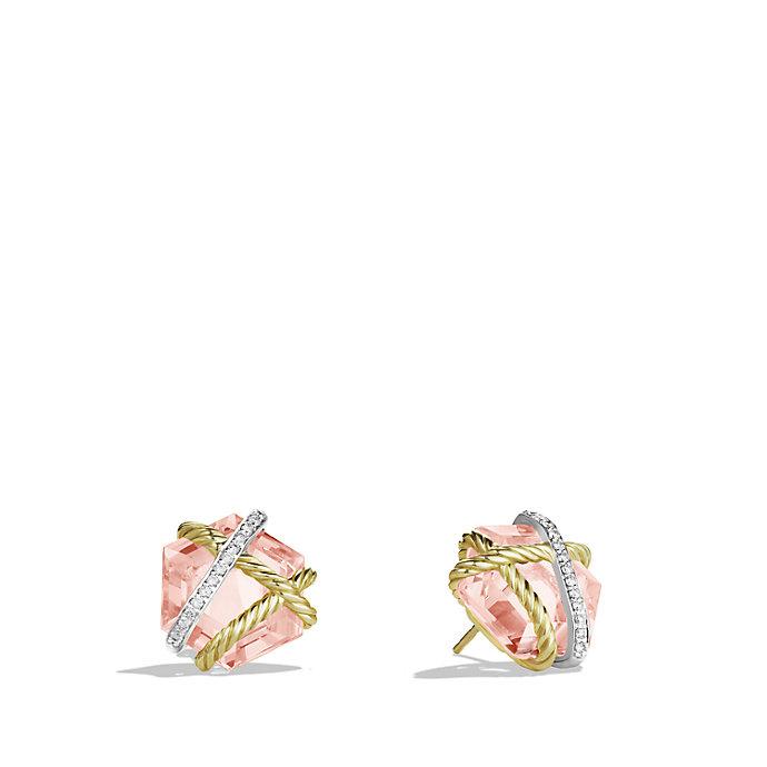 david yurman cable wrap earrings with diamonds in yellow