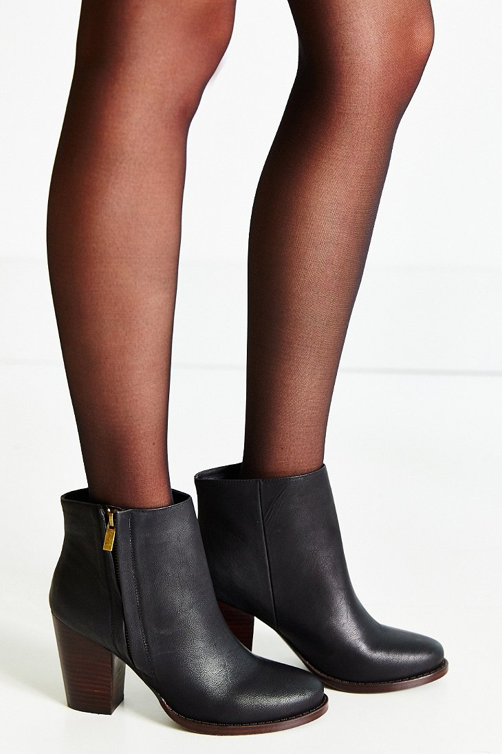 Silence   noise Half-stacked Heeled Ankle Boot in Black | Lyst